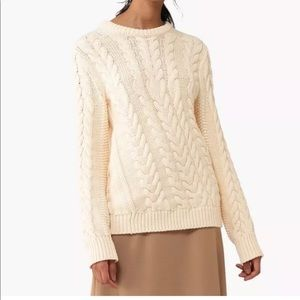 THEORY Wool Blend Twisted Cable Crewneck Sweater